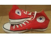 Red Converse hi-tops, UK size 11, great condition!