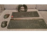 2 Wireless Keyboard & Mouse sets and xl ethernet cable