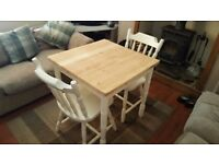 660mm X 660mm Shabby Chic Table and 2 Chairs - Farrow and Ball New White