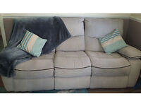3 seater recliner sofa, pale grey fabric, 2 years old, good condition, smoke free home
