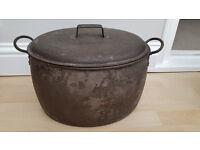 Vintage large steel cooking pot
