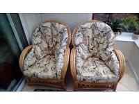 Cane conservatory furniture, 2 chairs and sofa