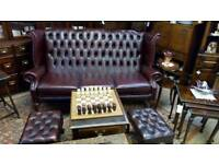 Chesterfield sofa, chair and stool