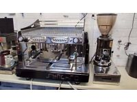 Used Synchro Compact 2 Group Espresso Machine & Macap M5 Coffee Grinder Package with Install