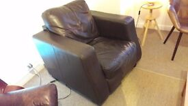 Leather sofa and matching armchair (pictured) - dark leather