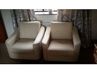 2 CREAM/OATMEAL ARM CHAIRS