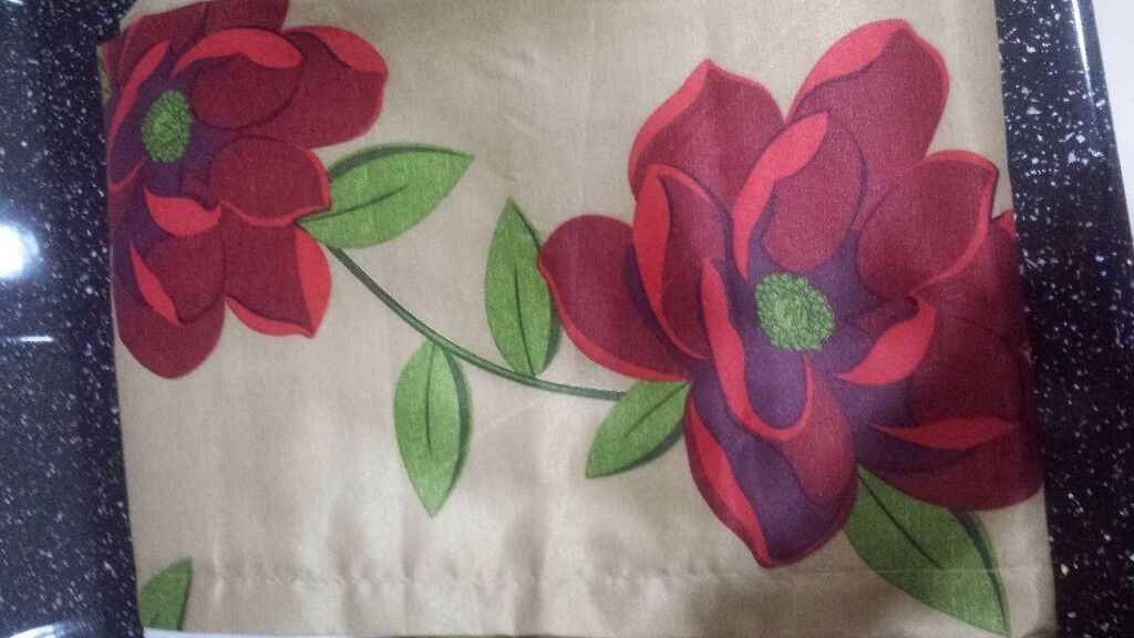 """Fully lined floral curtains 90""""x 90"""" brand new never been used."""