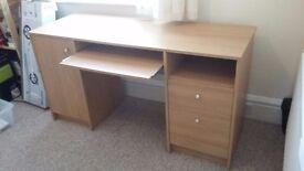 Oak effect Double Pedestal Desk
