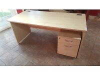 Office Work Desk Table Worktop and Wheel Cabinet Chest Drawers - 80cm x 160cm - CHEAP