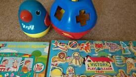 Bundle of 4 retro kids toys-shape sorting ball, 2 puzzles, rocking musical bluebird
