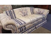 White and Indigo Floral Pattern Three Seater Sofa in Good Condition