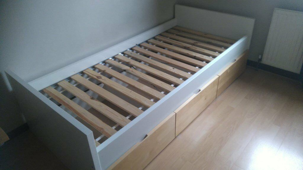 ikea single bed frame with 3 under bed storage drawers on casters - Ikea Single Bed Frame