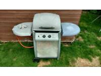 Laguna 2 burner BBQ + side burner and calor patio gas bottle half full and tongs