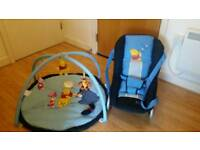 Hauck bouncer + baby gym/ playmat