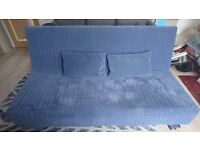 Ikea Beddinge 3-seater sofa bed with storage box, cover, and cushions