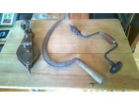 Vintage Tools (Scythe, Countersink Auger/Drill & pulley available)
