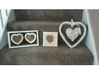 Photo Frames and White Wicker Heart