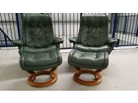 Ekornes stressless leather recliner Chairs and foot stools