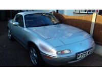 Silver Mazda MX5 'Harvard'soft/hard top recent 2 new tyres & clutch mileage 78,000 V G condition