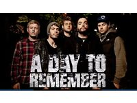 A DAY TO REMEMBER - BLOCK N5 ROW N - SSE ARENA WEMBLEY - FRI 27/01 - £45!