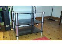 APOLLO silver/grey smoked glass Hi-Fi stand