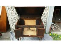 Vintage 1920's Wind Up Gramaphone Cabinet on Oak Barley Twist Legs, Toy Box, Storage Chest / Trunk