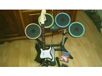 ps4 rock band drums quitar mic and game