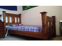Solid Timber Single Bed and Mattress