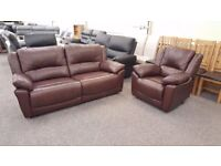 Ex-Display AHF Derby Brown Leather Electric Recliner 3 Seater Sofa & Armchair **CAN DELIVER**