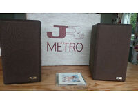 "JR ""Metro"" bookshelf speakers by Jim Rogers, original packaging. Big crisp sound"