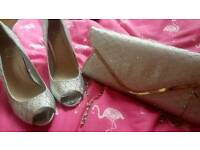 Silver bag and matching shoes size 5 perfect for occasions