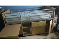 Childs Wooden Cabin Bed,With storage cupboards and desk below,Plus ladder to the Bed.