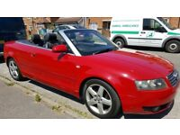 Audi A4 cabriolt 2.4 petrol red full service history 12 month mot black leather/suede interior