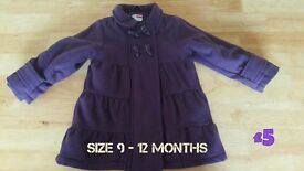 Girls Coats Sizes 9 months to 4 years