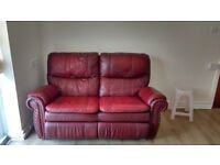 RED ITALIAN LEATHER 2 SEATER RECLINER SOFA,CAN DELIVER