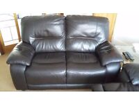 2 x 2 seater leather sofas, 1 is electric recliner