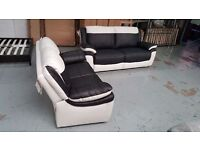 NEW ScS LEO BLACK & WHITE LEATHER 3 + 2 SEATER SOFAS BARGAIN £620 **Can Deliver**