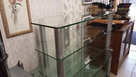 Large Glass 2 Tier TV Stand