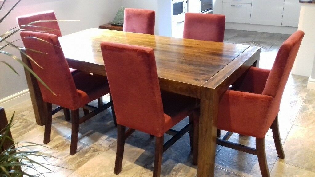 john lewis solid wood dining table  6 chairs  in