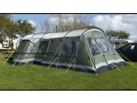 Outwell Montana 6 berth family frame tent. Front Full extension & footprint