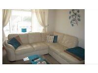 Cream Leather Corner Suite (DFS)