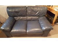 Blue faux-leather sofa for two