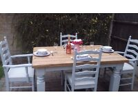 Stunning rustic dining table and 4 chairs in shabby chic style