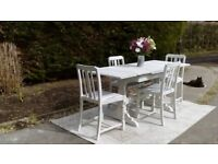 Lovely, Extending 1940's Ercol Dining Table & 4 Chairs. Shabby Chic, Old White. Delivery Available.
