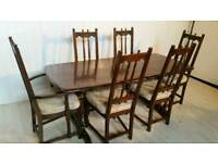 Ercol Old Colonial Dining Table and Six Chairs