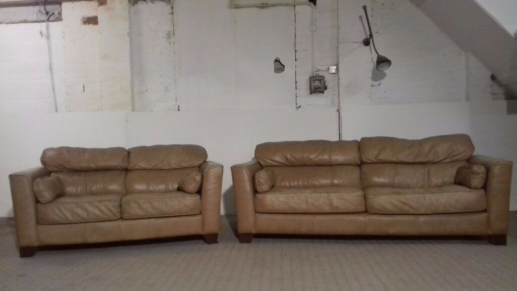 Light Brown 3 & 2 Seater Leather Sofa - DELIVERY AVAILABLE