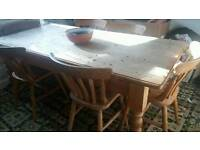 Farmhouse solid pine table and six chairs