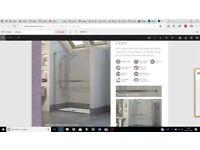 New Reflexions 8 frameless Sliding shower door 1400mm wide. 8mm safety glass. L18