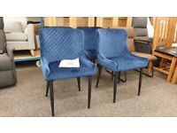 4x Julian Bowen Luxe Velvet Dining Chairs Blue/Black Can Deliver