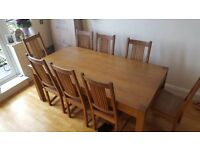 8 SEAT SOLID OAK REFECTORY DINING TABLE AND 8 CHAIRS